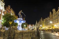 Neptunspringbrunn på Gdansk, Polen Arkivfoton