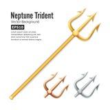 NeptunTrident vektor Realistisk kontur 3D av det Poseidon vapnet bronze guldsilver Skarpt gaffelobjekt för högaffel Fotografering för Bildbyråer