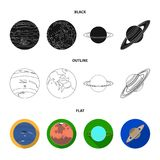 Neptunus, Mars, Saturn, Uranus van het Zonnestelsel Planeten geplaatst inzamelingspictogrammen in zwarte, vlak, de vector van de  royalty-vrije illustratie