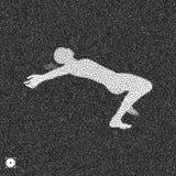 ner fallande man Svartvit kornig dotworkdesign Punkterad vektorillustration stock illustrationer