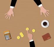 Ner - räknemaskin för guld- mynt för pengar för betalningfolkgove Arkivbild