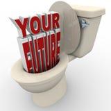 ner spola framtid prospekterar den din risktoaletten Fotografering för Bildbyråer