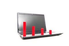 Ner trend som göras av röda kvarter på bärbara datorn Arkivbild