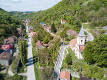 Nera Gorges National Park traditional old village for ecotourism. Aerial view royalty free stock image