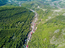 Nera Gorges National Park traditional old village for ecotourism. Aerial view from a drone Royalty Free Stock Photo