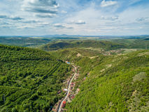 Nera Gorges National Park traditional old village for ecotourism. Aerial view from a drone Royalty Free Stock Photos