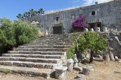 Nerantzia slott på den Kos ön, Grekland Royaltyfria Bilder