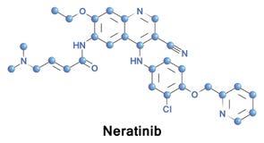 Neratinib anticancer drog stock illustrationer