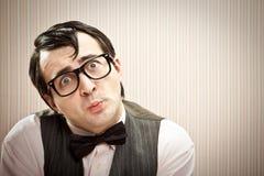 Nerd στενός επάνω έκφρασης ατόμων αστείος Στοκ φωτογραφία με δικαίωμα ελεύθερης χρήσης