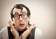Nerd στενός επάνω έκφρασης ατόμων αστείος Στοκ Φωτογραφίες