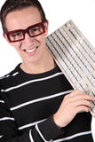Nerd. A typical nerd holding a keyboard. All isolated on white background Stock Photography