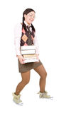 Nerd. Silly young adult woman . over white background Royalty Free Stock Image