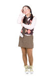 Nerd. Silly young adult woman . over white background Stock Photos
