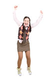 Nerd. Silly young adult woman . over white background Royalty Free Stock Images