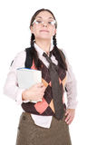 Nerd. Silly young adult woman . over white background Royalty Free Stock Photos