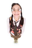 Nerd. Silly young adult woman . over white background Stock Images