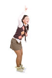 Nerd. Silly young adult woman . over white background Stock Image
