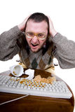 Nerd. Silly man with broken keyboard. over white background royalty free stock photo