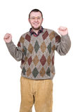 Nerd. Young silly man over white background Stock Image