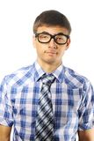 Nerd. Young nerd student over white royalty free stock photography