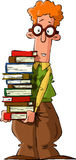 Nerd. With a pile of books, vector Stock Photo