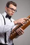 Nerd with abacus. Stock Photo