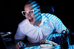 Nerd And Computer Stock Photo
