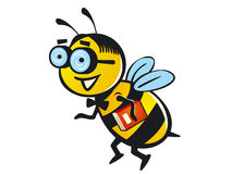 Nerd Bee. A cartoon bee with a nerd look, with a thick eyeglasses and holding a book stock illustration