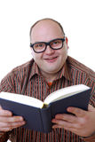 Nerd with book Stock Photo