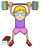 Nerd Boy Exercising Cartoon Character Stock Photos