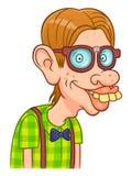 Nerd boy. Funny cartoon nerd on the white background royalty free illustration