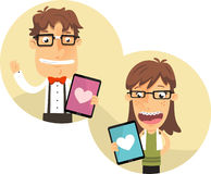 Nerd Boy and Girl using a Love app for Ipad Royalty Free Stock Images