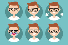 Nerd boy profile pics / Set of flat  portraits Royalty Free Stock Images