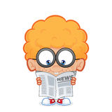 Nerd boy reading a newspaper. Clipart picture of a nerd boy cartoon character reading a newspaper vector illustration