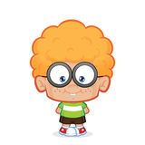Nerd boy standing. Clipart picture of a nerd boy cartoon character standing stock illustration