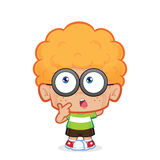 Nerd boy thinking. Clipart picture of a nerd boy cartoon character thinking stock illustration