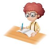 A nerd boy writing. Illustration of a nerd boy writing on a white background royalty free illustration