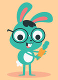 Nerd Bunny Holding a Carrot Royalty Free Stock Images
