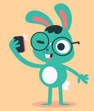 Nerd Bunny Taking a Selfie Royalty Free Stock Images