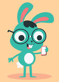 Nerd Bunny Wearing Glasses Talking on the Phone Royalty Free Stock Image