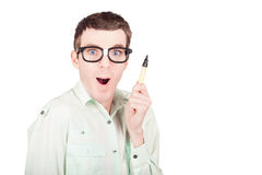 Nerd business man with pen. Write a smart message Stock Photo