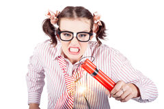 Nerd Business Woman Holding Exploding Time Bomb. Isolated Nerd Business Woman Holding Lit Explosives While Gnashing Teeth With Fury In A Depiction Of A Explosion Royalty Free Stock Image