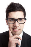 Nerd businessman. Funny portrait of a young businessman with a nerd glasses Royalty Free Stock Photos
