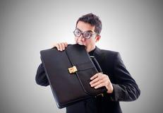 Nerd businessman. The nerd businessman against the gradient Royalty Free Stock Photo