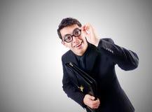 Nerd businessman against the gradient Stock Image