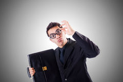 Nerd businessman against the gradient. The nerd businessman against the gradient Stock Images