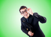 Nerd businessman against the gradient Stock Photography