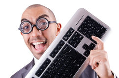 Nerd businessman. With computer keyboard on white Stock Images