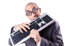 Nerd businessman. With computer keyboard on white Stock Photos