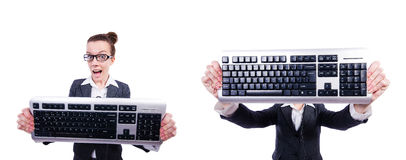 The nerd businessman with computer keyboard on white Royalty Free Stock Images